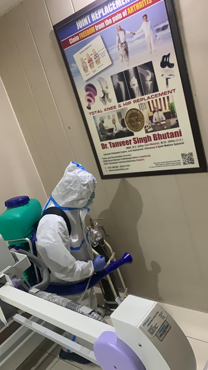 sanitizing the hospital cabin